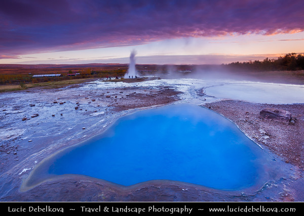 Europe - Iceland - Southern Iceland - Mineral water pools with Strokkur Geysir in background - Geysir's little brother and its surrounding geothermal area at Sunset - Late Evening