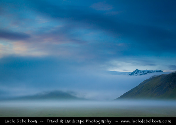 Europe - Iceland - Southern Iceland - Mystical Night Landscape along Route 1 - Ring Road - Þjóðvegur 1 - Hringvegur - Main road that runs around the island & connects most populous parts of the country