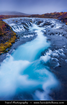 Europe - Iceland - Southernmost Iceland - Beautiful Blue Waterfall - One of Iceland's many stunning waterfalls