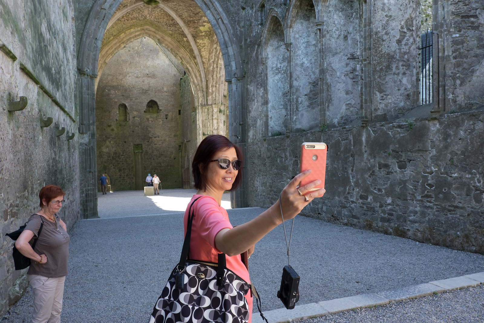 Eva takes a selfie inside the Cashel church thing.