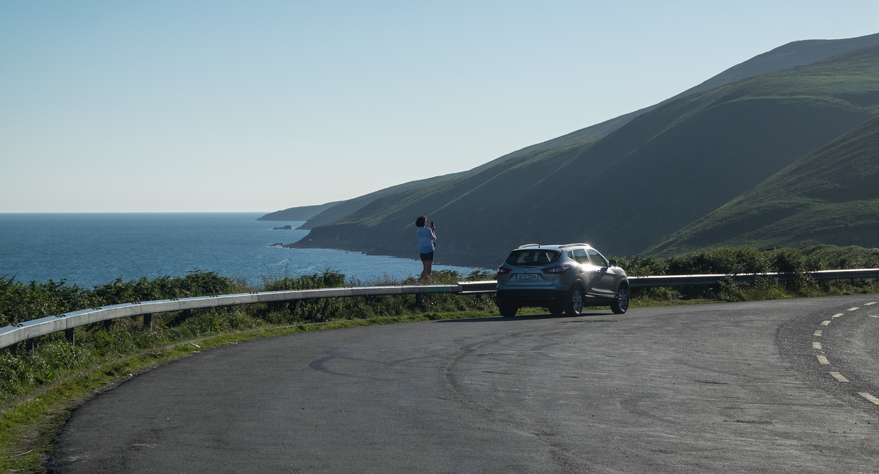 Stopping for a picture on a coastline drive
