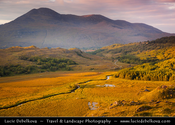 Europe - Ireland - Éire - Airlann - Airlan - County Kerry - Killarney National Park - Páirc Náisiúnta Chill Airne - First national park established in Ireland - Last Sun Rays over Deep Valley covered in Autumn Colors