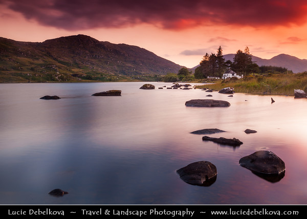 Europe - Ireland - Éire - Airlann - Airlan - County Kerry - Killarney National Park - Páirc Náisiúnta Chill Airne - First national park established in Ireland - Traditional Lake Scene at Dramatic Sunset