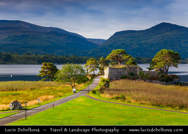 Europe - Ireland - Éire - Airlann - Airlan - County Kerry - Killarney National Park - Páirc Náisiúnta Chill Airne - First national park established in Ireland - Traditional Lake Scene with McCarthy Mor Castle Ruins on shores of Lough Lein