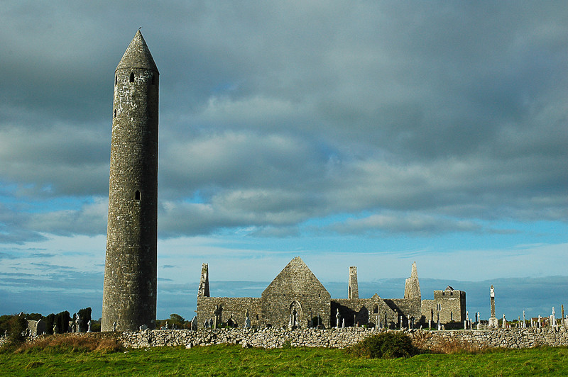 Kilmacduagh, ruins of 7th - 12th century monastery in County Galway