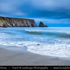 Europe - Ireland - Éire - Airlann - Airlan - County Waterford - Copper Coast UNESCO Global Geopark - Kilfarrasy Beach - Dramatic rocky coast along Atlantic Ocean