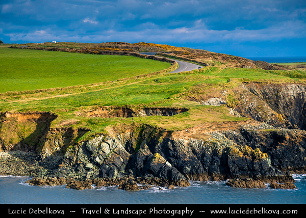 Europe - Ireland - Éire - Airlann - Airlan - County Waterford - Copper Coast UNESCO Global Geopark - Stradbally Cove - Dramatic rocky coast along Atlantic Ocean
