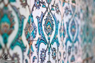 Floral decoration on the tiles of the Harem