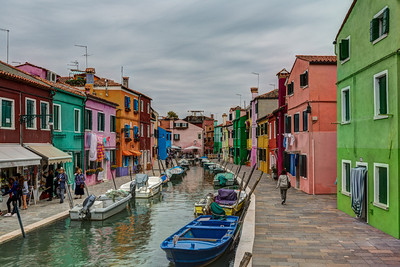 Colorful houses line the canals