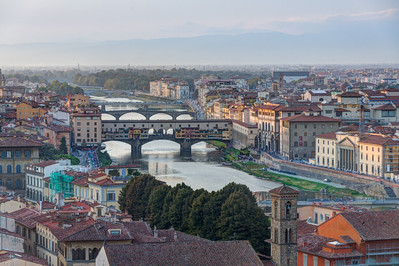 Ponte Vecchio Overview from Piazzale Michelangelo, Tuscany, Italy