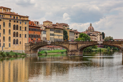 Ponte Santa Trinita with Dome of Santo Spirito, Firenze, Tuscany, Italy