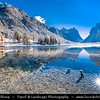 Europe - Italy - Italia - Alps - Dolomites - Dolomiti - Province of South Tyrol - Lago di Dobbiaco - Toblacher See - Alpine Lake in upper Val Pusteria valley situated in between Three Peaks and Fanes-Sennes-Braies Nature Parks - Winter time with heavy snow cover