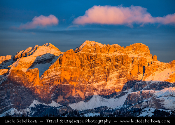 Europe - Italy - Italia - Alps - Dolomites - Dolomiti - Trentino-Alto Adige - Province of South Tyrol - Gardena Pass - Passo Gardena - High mountain pass at elevation of 2,136 m (7,008 ft) above sea level, connecting Sëlva in Val Gardena with Corvara in Val Badia - Winter time with heavy snow cover