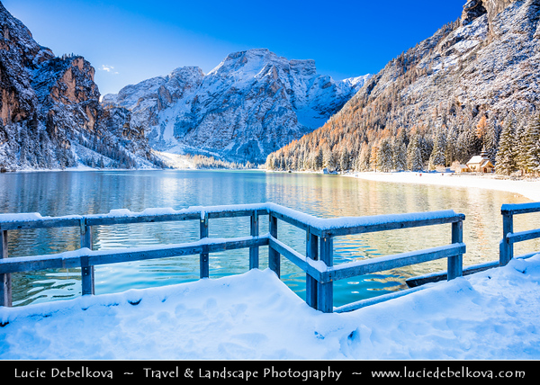 Europe - Italy - Italia - Alps - Dolomites - Dolomiti - Province of South Tyrol - Pragser Wildsee - Lake Prags - Lake Braies - Lago di Braies - Largest natural lake offering stunning views - One of most beautiful lakes in the Dolomits - Winter time with heavy snow cover