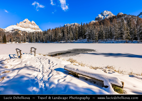 Europe - Italy - Italia - Alps - Dolomites - Dolomiti - Province of Belluno - Lago d'Antorno - Lake Antorno - Picturesque Alpine lake at elevation 1,866 m - Winter time with heavy snow cover