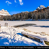 Europe - Italy - Italia - Alps - Dolomites - Dolomiti - Province of Belluno - Lago d'Antorno - Lake Antorno - Picturesque Alpine lake at elevation 1,866 m - Winter time with heavy snow cover