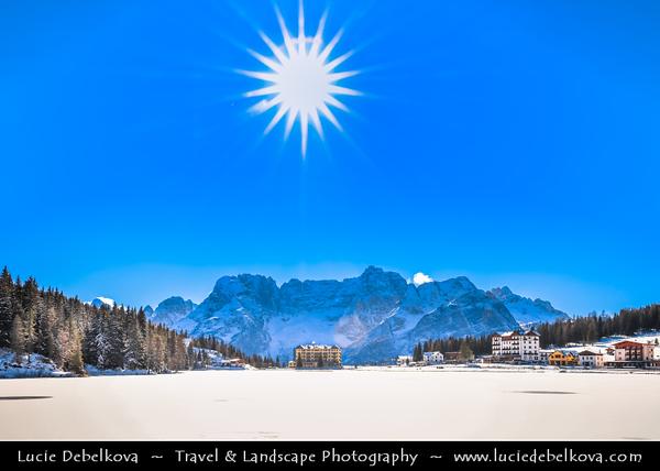 Europe - Italy - Italia - Alps - Dolomites - Dolomiti - Province of Belluno - Lake Misurina - Lago di Misurina - Iconic Alpine lake at elevation 1,754 m (5,755 ft) - Winter time with heavy snow cover