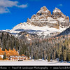 Europe - Italy - Italia - Alps - Dolomites - Dolomiti - Province of Belluno - Lake Misurina - Lago di Misurina - Iconic Alpine lake at elevation 1,754 m (5,755 ft) - Winter time with heavy snow cover