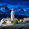 Europe - Italy - Italia - Alps - Dolomites - Dolomiti - Trentino-Alto Adige - Province of South Tyrol - Colfosco - Calfosch - Mountain village at at 1,645 metres (5,400 ft) with Iconic church - Winter time with heavy snow cover