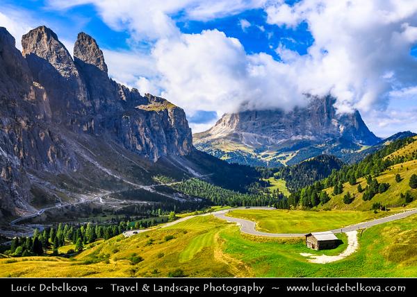 Europe - Italy - Italia - Alps - Dolomites - Dolomiti - Trentino-Alto Adige - Province of South Tyrol - Gardena Pass - Passo Gardena - High mountain pass at elevation of 2,136 m (7,008 ft) above sea level, connecting Sëlva in Val Gardena with Corvara in Val Badia