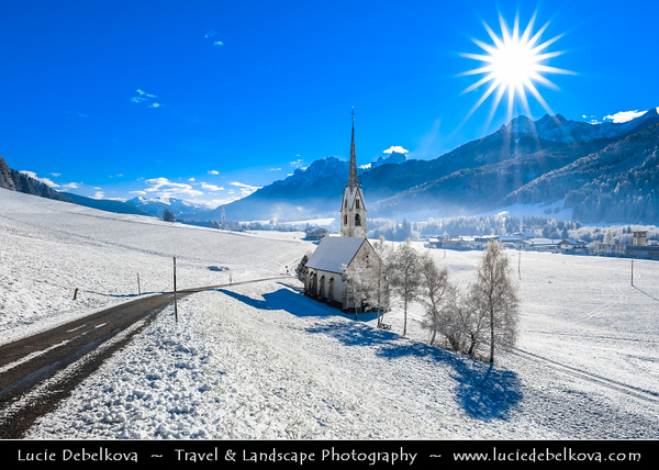 Europe - Italy - Italia - Alps - Dolomites - Dolomiti - Province of South Tyrol - Villabassa - Alpine village with iconic churches, considered cradle of tourism resorts of Val Pusteria - Winter time with heavy snow cover