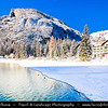 Europe - Italy - Italia - Alps - Dolomites - Dolomiti - Province of South Tyrol - Pragser Wildsee - Lake Prags - Lake Braies - Lago di Braies - Largest natural lake offering stunning views - One of most beautiful lakes in Dolomits - Winter time with heavy snow cover