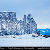 Europe - Italy - Italia - Alps - Dolomites - Dolomiti - Province of South Tyrol - Alpe di Siusi - Seiser Alm - Dolomite plateau & largest high-altitude Alpine meadow in Europe - Winter time with heavy snow cover