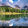Europe - Italy - Italia - Alps - Dolomites - Dolomiti - Province of Belluno - Lago d'Antorno - Lake Antorno - Picturesque Alpine lake at elevation 1,866 m