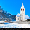 Europe - Italy - Italia - Alps - Dolomites - Dolomiti - Province of South Tyrol - Province of Bolzano - Oberhaus - Church San Vito - Chiesa parrocchiale San Vito - Winter time with heavy snow cover