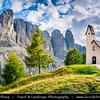 Europe - Italy - Italia - Alps - Dolomites - Dolomiti - Trentino-Alto Adige - Province of South Tyrol - Gardena Pass - Passo Gardena - High mountain pass at elevation of 2,136 m (7,008 ft) above sea level, connecting Sëlva in Val Gardena with Corvara in Val Badia - Iconic Chapel - Cappella di San Maurizio