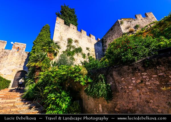 Europe - Italy - Italia - Alps - Veneto Region - Province of Verona - Lake Garda - Lago di Garda - Malcesine - Small historical town on eastern shore of Lake Garda with Castello Scaligero - 13th-century fortifications with older medieval tower