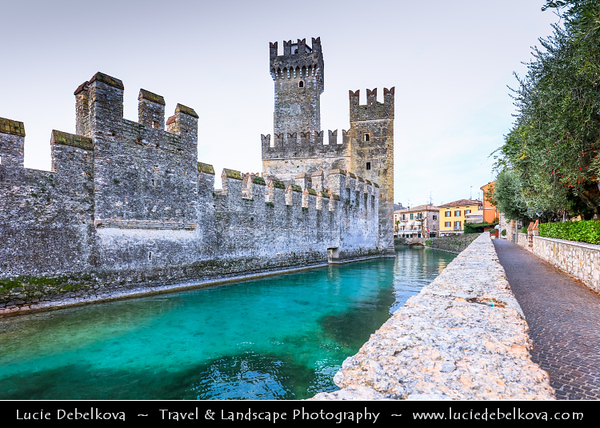 Europe - Italy - Italia - Alps - Lombardy region - Province of Brescia - Lake Garda - Lago di Garda - Sirmione - Alpine resort historical town known for its thermal baths and Rocca Scaligera medieval castle