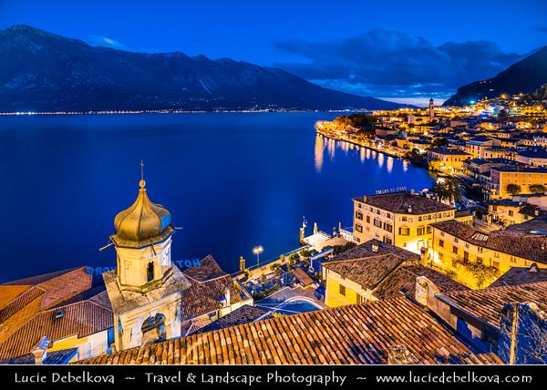 Europe - Italy - Italia - Alps - Lombardy region - Province of Brescia - Lake Garda - Lago di Garda - Limone sul Garda - Alpine lake resort with picturesque historic old town around little port - Twilight - Blue Hour - Dusk - Night