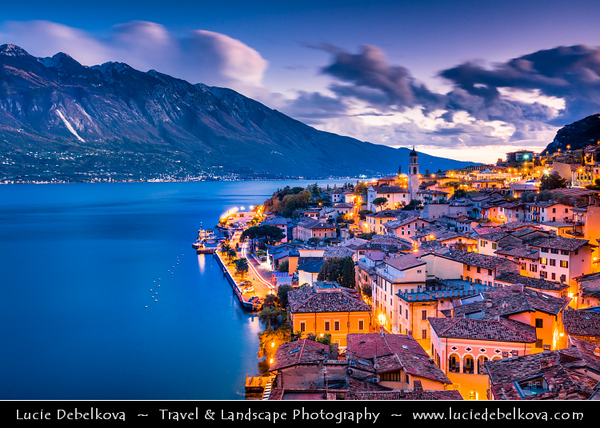 Europe - Italy - Italia - Alps - Lombardy region - Province of Brescia - Lake Garda - Lago di Garda - Limone sul Garda - Alpine lake resort with picturesque historic old town around little port - Twilight - Blue Hour - Dusk - Night
