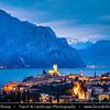 Europe - Italy - Italia - Alps - Veneto Region - Province of Verona - Lake Garda - Lago di Garda - Malcesine - Small historical town on eastern shore of Lake Garda with Castello Scaligero - 13th-century fortifications with older medieval tower - Twilight - Blue Hour - Dusk - Night