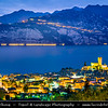 Europe - Italy - Italia - Alps - Veneto Region - Province of Verona - Lake Garda - Lago di Garda - Malcesine - Small historical town on eastern shore of Lake Garda with Castello Scaligero - 13th-century fortifications with older medieval tower - Twilight - Blue Hour - Dusk - Night