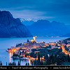 Europe - Italy - Italia - Alps - Veneto Region - Province of Verona - Lake Garda - Lago di Garda - Malcesine - Small historical town on eastern shore of Lake Garda with Castello Scaligero - 13th-century fortifications with older medieval tower