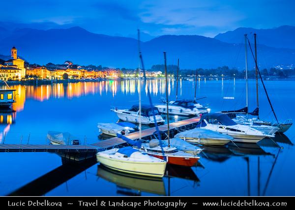 Italy - Italia - Alps - Alpine Lake Maggiore - Lago Maggiore - Second largest lake in Italy - Feriolo di Baveno - Dusk - Twilight - Blue Hour