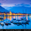 Italy - Italia - Alps - Alpine Lake Maggiore - Lago Maggiore - Second largest lake in Italy - Feriolo di Baveno - Dusk - Twilight - Blue Hour