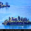 Europe - Italy - Italia - Alps - Lombardy Region - Bergamo Province - Lake Iseo - Lago d'Iseo - Loreto Island - Isola di Loreto - Smallest island of Iseo lake with Neo-Gothic castle
