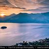 Europe - Italy - Italia - Alps - Lombardy Region - Bergamo Province - Lake Iseo - Lago d'Iseo - Alpine lake with Loreto Island - Isola di Loreto - Smallest island of Iseo lake with Neo-Gothic castle