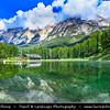 Europe - Italy - Italia - Alps - Dolomites - Dolomiti - Province of Belluno - San Vito di Cadore - Mountain town nestling at foot of majestic peaks in broad green valley in heart of Belluno Dolomites - Lago di San Vito di Cadore - Lago Mosigo - Lake in Val del Boite