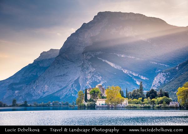 Europe - Italy - Italia - Alps - Trentino Province - Sarca Valley - Lake Valley - Valle dei Laghi - Lake Toblino with Toblino Castle - Castel Toblino