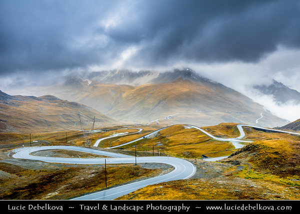 Europe - Italy - Italia - Alps - Province of South Tyrol - Stelvio Pass - Passo dello Stelvio - Stilfser Joch - High mountain pass at elevation of 2,757 m (9,045 ft) above sea level - Highest paved mountain pass in Eastern Alps & second highest in Alps