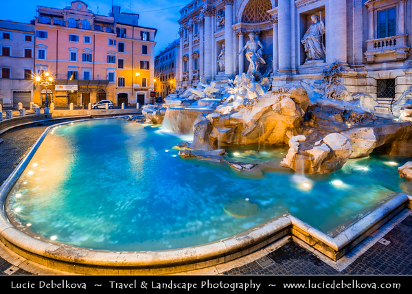 Europe - Italy - Italia - Rome - Roma - Trevi Fountain - Fontana di Trevi - Largest Baroque fountain in capital & one of most famous fountains in world