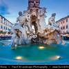 Europe - Italy - Italia - Rome - Roma - Piazza Navona - Highly significant example of Baroque Roman architecture & art with famous Fontana dei Quattro Fiumi - Fountain of the Four Rivers by Gian Lorenzo Bernini