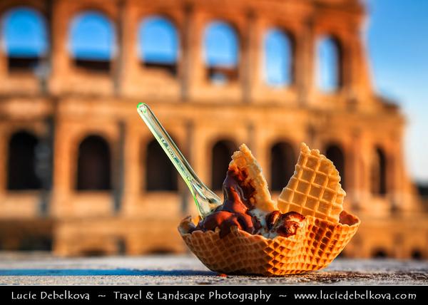 Europe - Italy - Italia - Rome - Roma - Traditional Gelago - Delicious Italian Ice Cream in local gelateria - Ice cream shops - The most authentic Italian experience