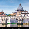 Europe - Italy - Italia - Rome - Roma - St. Angelo Bridge - Ponte Sant'Angelo - Roman bridge completed in 134 AD by Roman Emperor Hadrian to span Tiber River