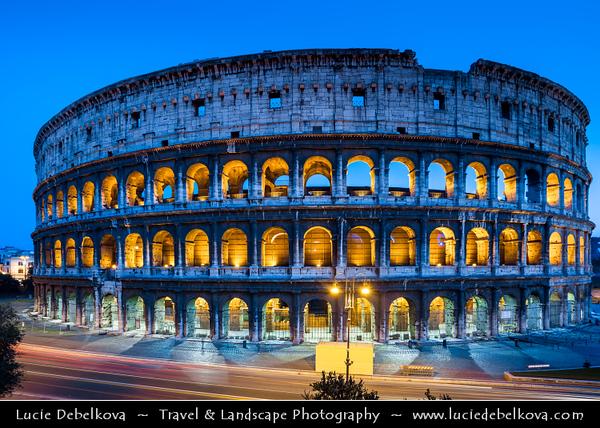 Europe - Italy - Italia - Rome - Roma - Colosseum - Coliseum - Flavian Amphitheatre - Anfiteatro Flavio - Colosseo - Elliptical amphitheatre & Largest ever built in Roman Empire - One of greatest works of Roman architecture & Roman engineering - Iconic & famous landmark