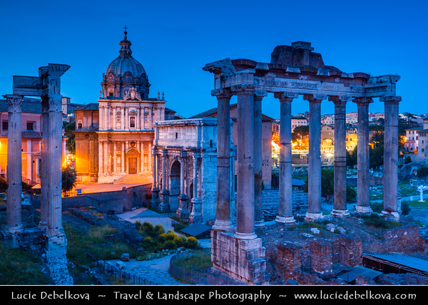 Europe - Italy - Italia - Rome - Roma - Roman Forum - Forum Romanum - Rectangular forum surrounded by ruins of several important ancient government buildings at center of Ancient Rome